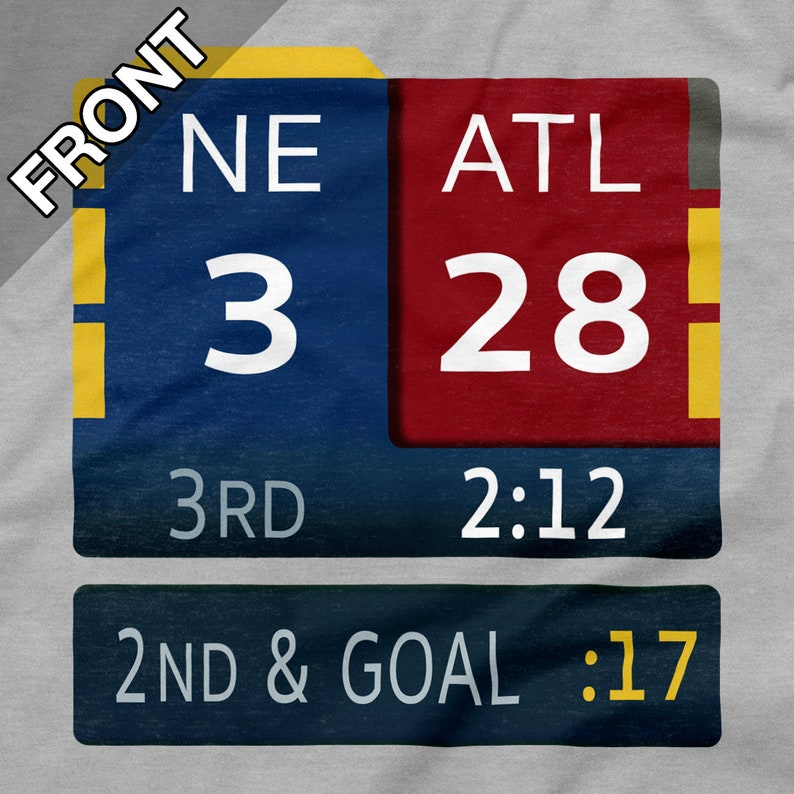 sale retailer 5dc6b 74704 New England Patriots Shirt 28-3 Super Bowl LI Scoreboard Gray Grey Size S M  L XL 2XL 3XL 4XL 5XL Tom Brady Fox TV Score Bug Atlanta Falcons