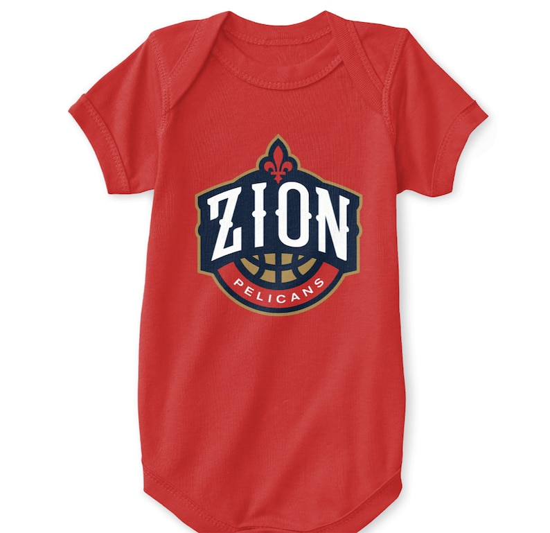 a3e8d0d1 Zion Williamson Baby Bodysuit New Orleans Pelicans Logo Parody NOLA Emblem  NBA Draft Big Easy Crescent Duke Icon Size Newborn 6 12 18 24 Mo.