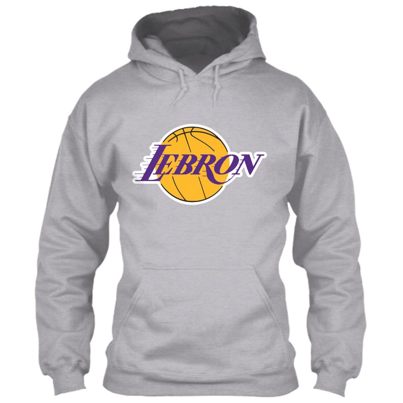 LeBron James Hoodie Los Angeles Lakers Logo Gray Grey Size S M L XL 2XL 3XL 4XL 5XL Classic Retro Showtime Icon Kobe Shaq Throwback Emblem