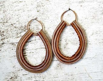 Lace Leather and Copper Earrings