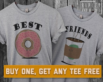 SALE TODAY: Coffee & Donut T-Shirt, Ladies Unisex Shirt, Cute BFF Best Friends, Doughnuts, Bff's Couples Tee Short