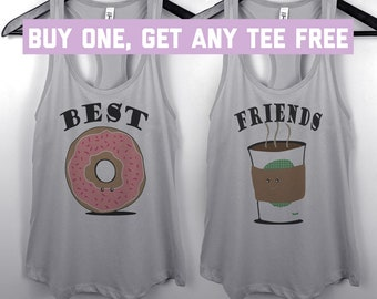 SALE TODAY: Coffee And Doughnuts Tank Top, Ladies Racerback Tank, Best Friend BFF, Besties, Bff's, Donut Tanks, Funny