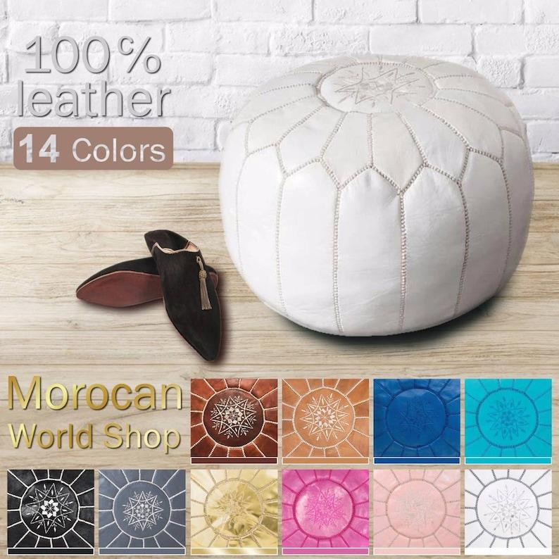 hight Quality Ottoman Ottoman pouff stool Moroccan Pouf 100/% Leather Footstool