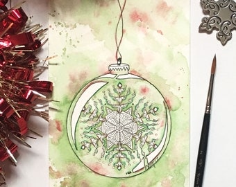 Snowflake, Green, Red, Holiday, Christmas Ornament Painting