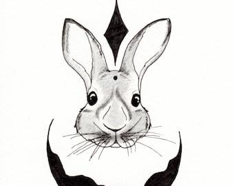 Rabbit, Bunny, Spirit Animal, Wildlife, Forest Animal, Abstract, Watercolor Print