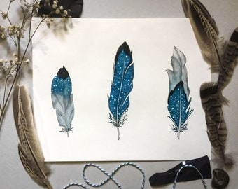 Blue jay feather Stained glass Feather blue window hanging suncatcher Boho feather Blue Bird art Feather lover gift Southwestern feather