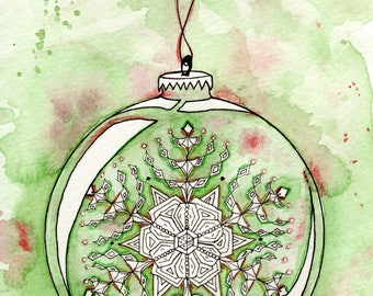 Snowflake, Green, Red, Holiday, Christmas Ornament Painting Print