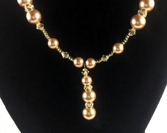 Handmade Swarovski Rose Gold Necklace