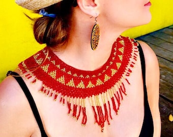 Red and Gold Mexican beaded collar - handmade