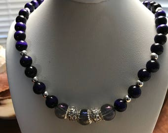 Purple Tiger Eye, Crystal, Sterling Silver Necklace and Earrings Set