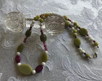 Jade, Tourmaline and Crazy Lace Agate Necklace