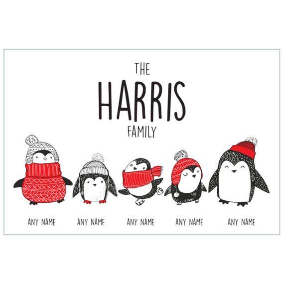 Personalised Penguin Family,Christmas Plaque,Handmade,Gift,Christmas Present