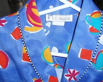 F.L.Malik Blue, Tea pots & Fruit,  Blouse - Skirt set