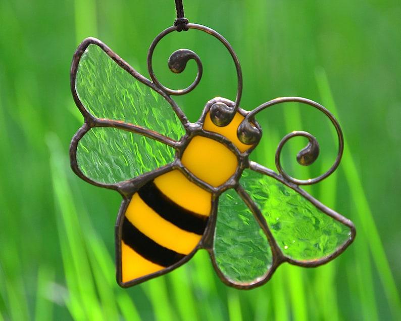 Honey Bee Decor Stained Glass Suncatcher Garden