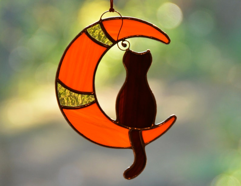 Stain glass black cat on the moon cat lover gift window image 4