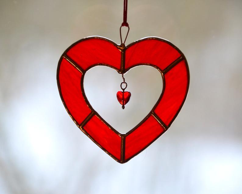 e018eb6d420b Stained glass heart red heart suncatcher window hangings