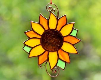 Stain glass sunflower, Christmas flower gift, window hangings suncatcher