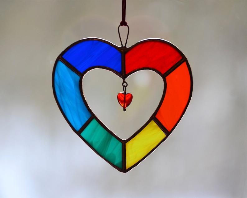 0e37a83d1604 Stained glass rainbow heart multicolour suncatcher window