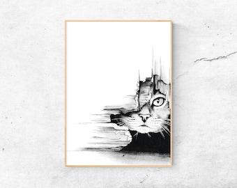 A4 Print | Cat | Art print | Drawing