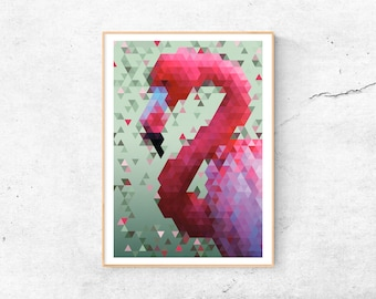 Flamingo Polygon A3 Print | Poster | Wall Decoration | Artprint