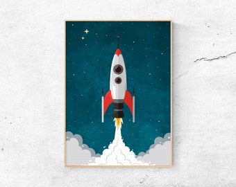 A4 Print | Rocket launch | Children's room | Illustration Rocket