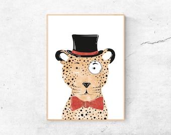 Leopard | A4 Print | Children's room | Illustration Gentleman