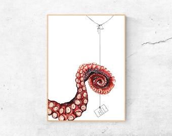 A4 Print | Octopus | Art print watercolor