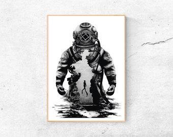 A4 Print | Helmet diver | Art Print Diver | Maritim
