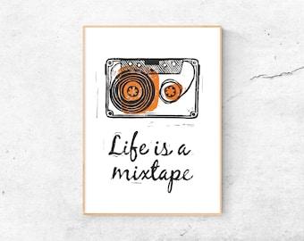A4 Print | Cassette - Life is a mixtape | Art print linocut