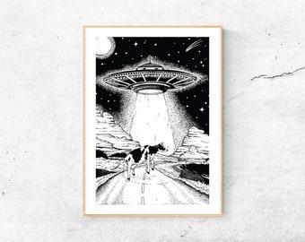 A4 Print | Beam me up | Art Print Ink | Cow | Ufo