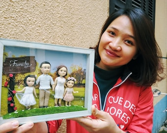 Clay family portrait in frame, from photo, original gift for family, for wife, for husband, funny original frame, interior decoration