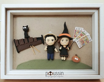 Couple portrait in a wooden frame, original wall decoration, personalized figurine, gift for couple, music lover, for him, st valentin gift