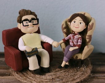 Sculpture of young carl and Ellie from UP the movie, personalized decoration for marriage anniversary, customorder