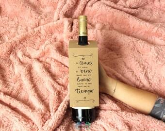 Vin le goulot de la bouteille - anniversaire, anniversaire, mariage, Saint-Valentin - «amour s'améliore avec le temps»
