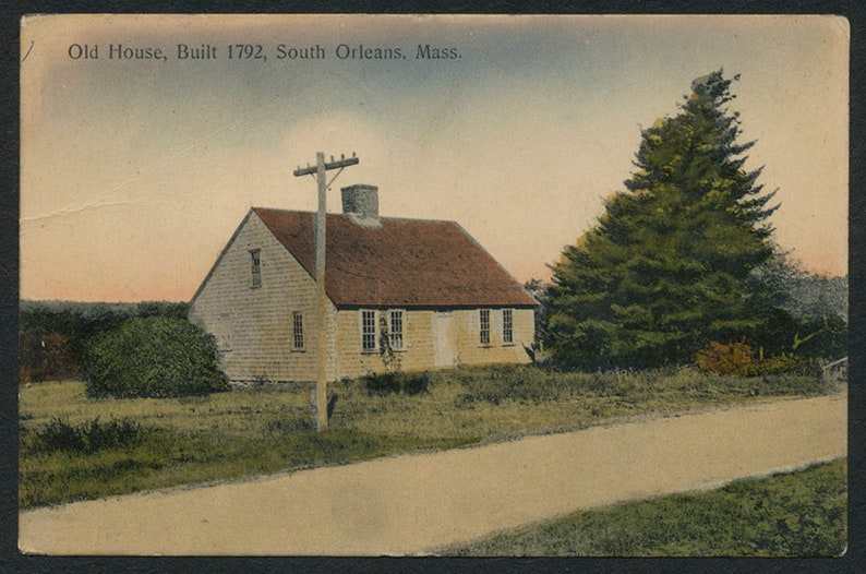 Strange Cape Cod Massachusetts Postcard Vintage Colorized 1919 Post Card Of An Old House In South Orleans Ma Usa Home Interior And Landscaping Spoatsignezvosmurscom