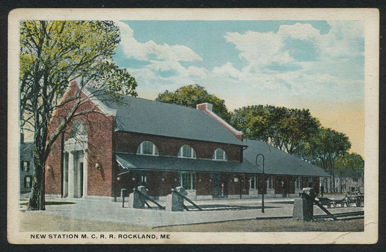 Maine Postcard Rockland Vintage Colorized Post Card of the New Maine Central Rail Road Station in Rockland ME with Free Shipping
