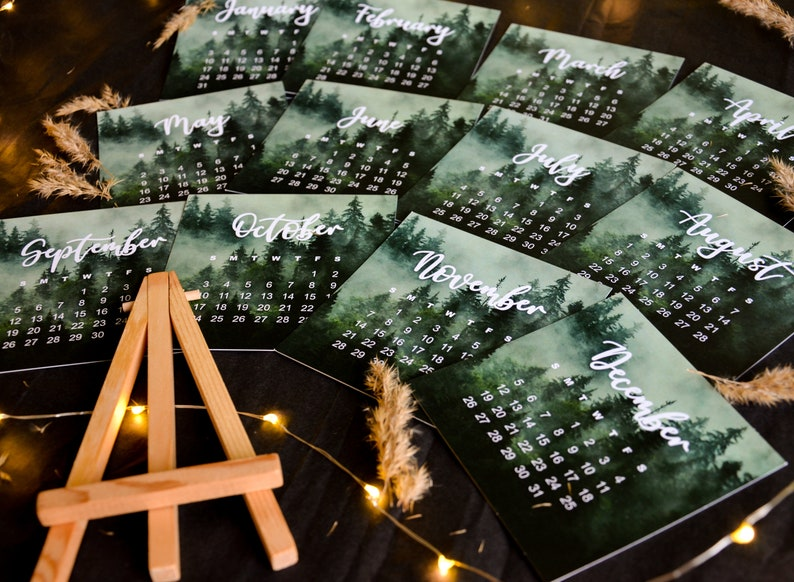 2021 woodland desk Calendar with Mini Wooden Easel   Etsy
