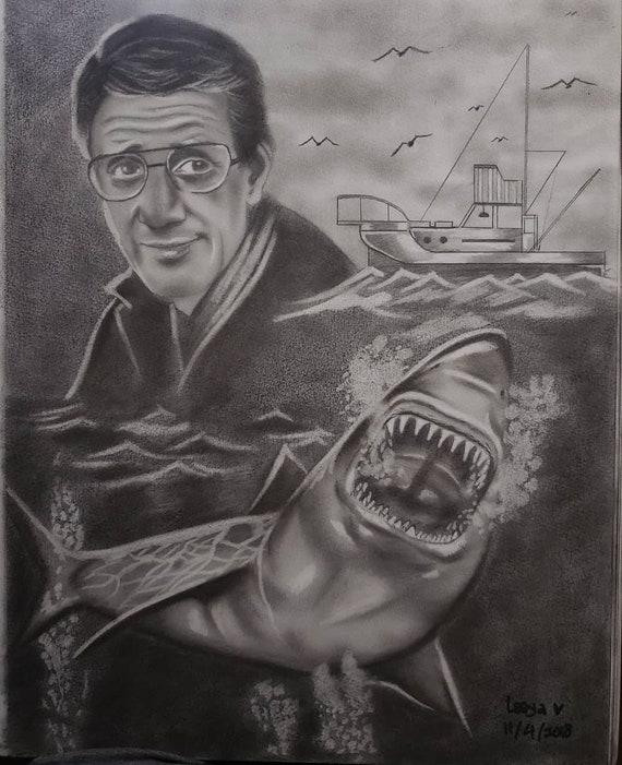 Jaws Shark Horror Movie Pencil Drawing Etsy