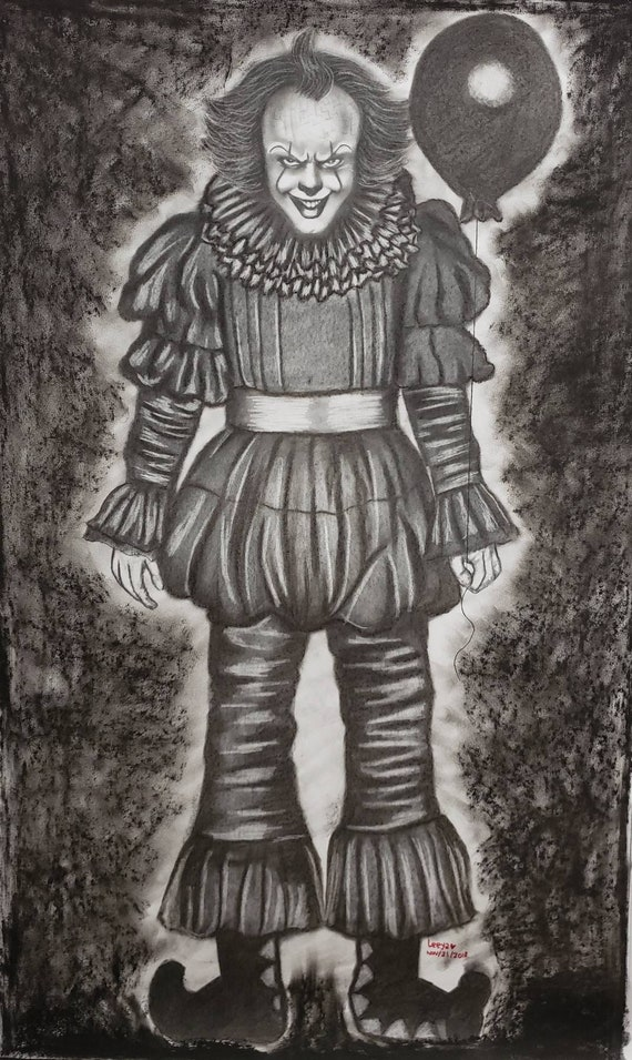 Pennywise It Horror Movie Graphite Pencil Sketch Etsy
