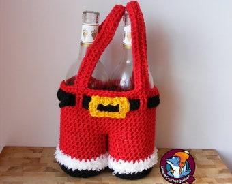 Santa bag for carrying wine bottles