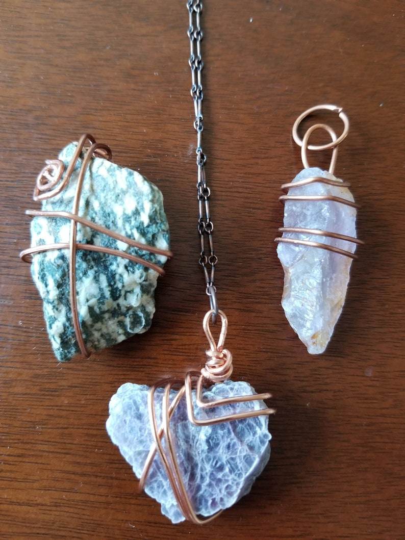 Magical Crystal Raw Stone Pendants handmade with Copper or Silver wire Visionary Gifts by Blue Spiral