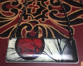 Handmade Resin Red Moon & Tree Necklace and Earring Set