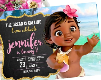 Baby Moana Birthday Invitation Invite InvitationBaby