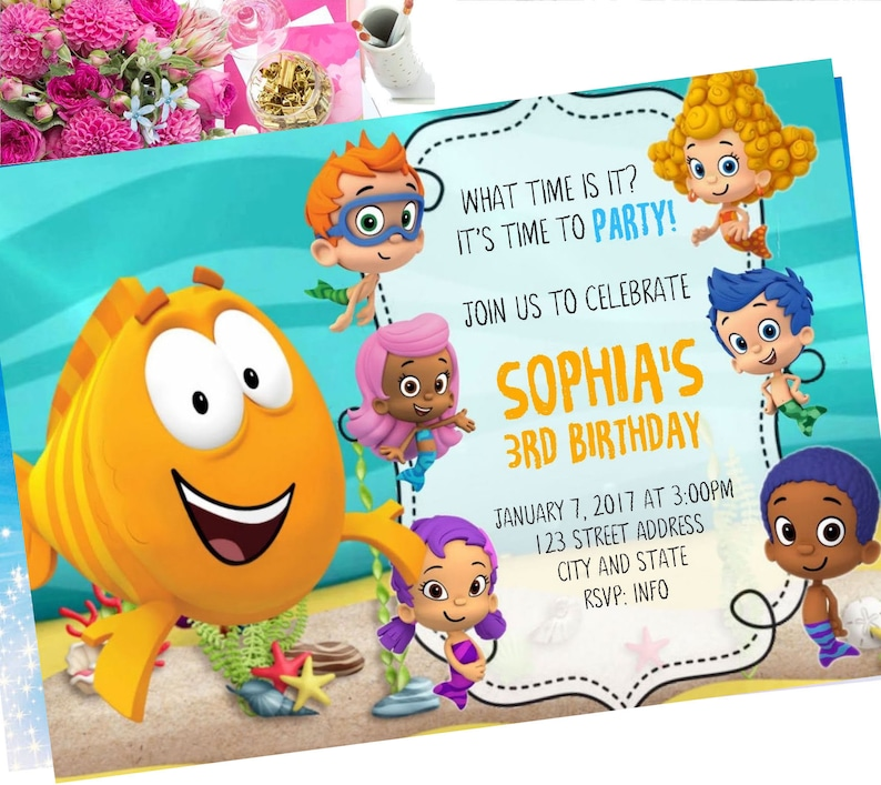 Bubble Guppies Birthday Invitation Invite