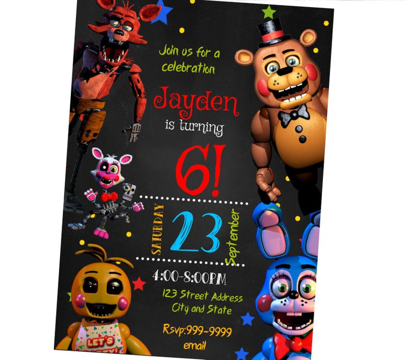 INSTANT DOWNLOAD Five Nights At Freddys Invitation