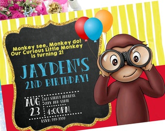 40% OFF Curious George Invitation, Curious George Invite, Curious George, Birthday Invitation, Invitation