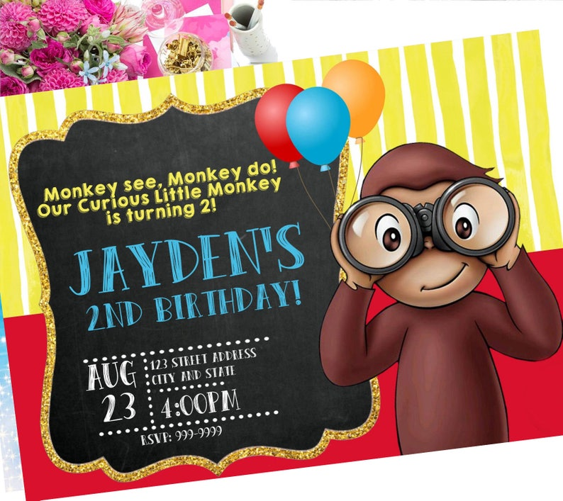 40 OFF Curious George Invitation Invite