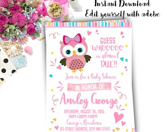 Owl invitation Etsy