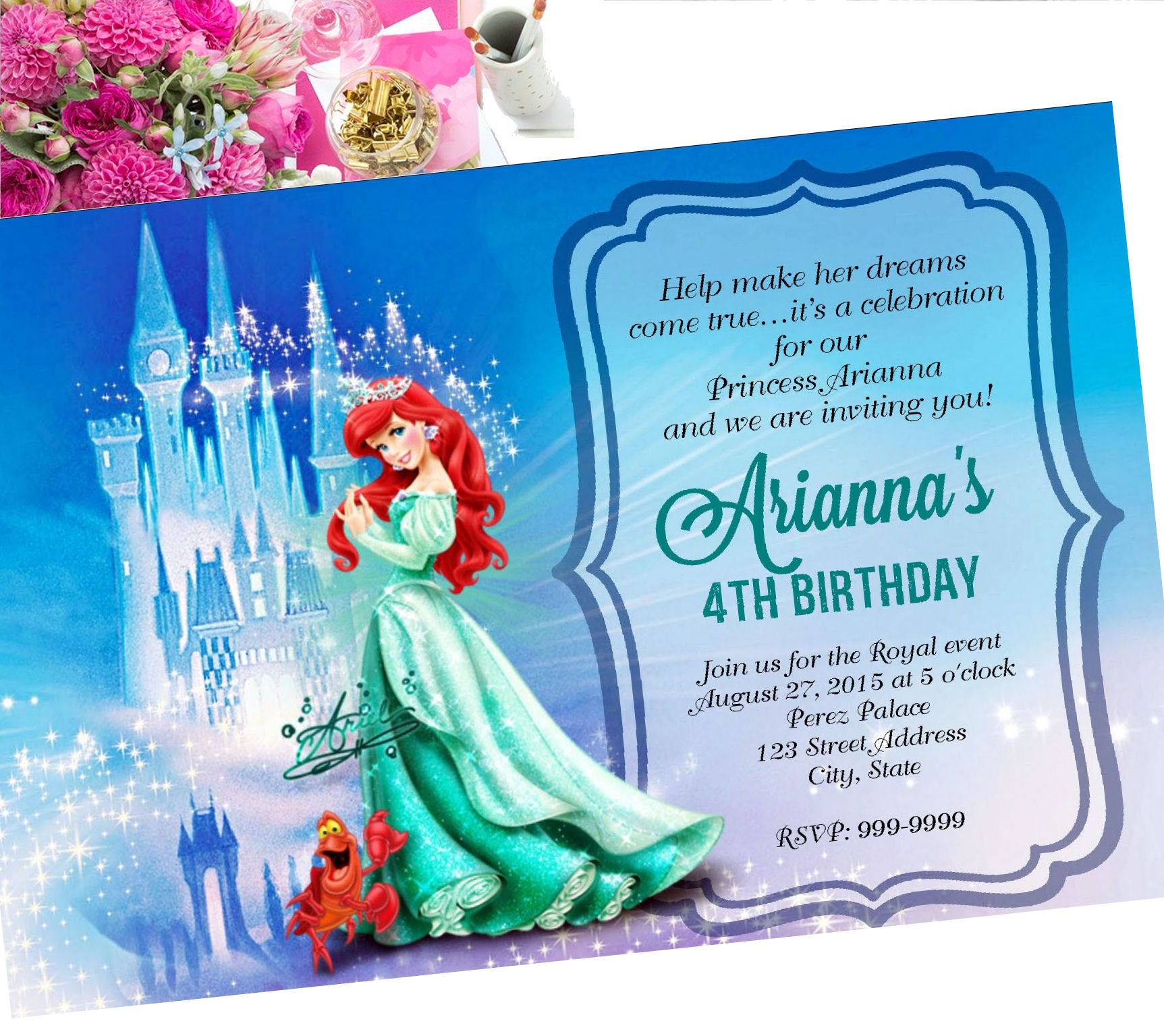 Princess Ariel Birthday Invitation Invite
