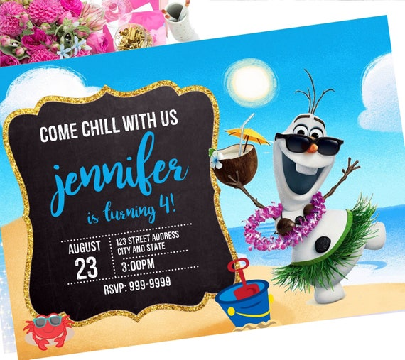 awesome olaf birthday invitation or 84 frozen birthday invitation card with photo